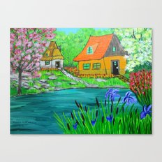Cottages by the lake  Canvas Print