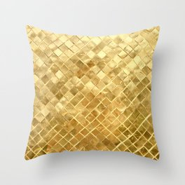 Golden Checkerboard Throw Pillow