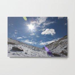 A Sunny Snowy Mountain Metal Print