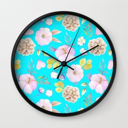Artist hand painted pink lavender teal watercolor floral Wall Clock