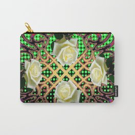 RED ORNATE WHITE ROSE TAPESTRY ART Carry-All Pouch