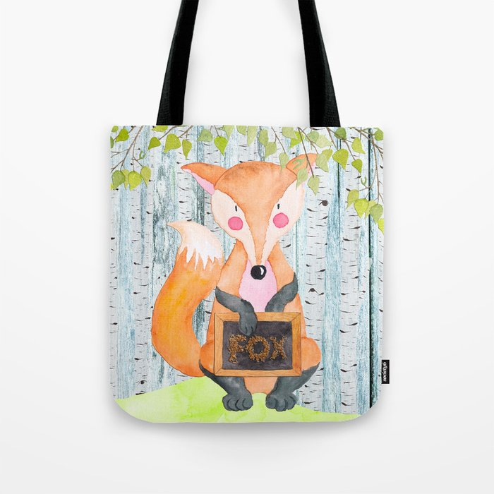 The little Fox- Woodland Friends- Watercolor Illustration Tote Bag