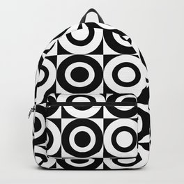 Mid Century Square and Circle Pattern 541 Black and White Backpack
