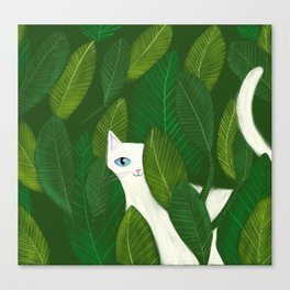 Jungle Cat white cat in leaves artwork by Tascha Canvas Print