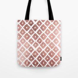 Chic modern faux rose gold ikat pattern Tote Bag