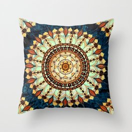 Sketched Mandala Design On A Blue Textured Background Throw Pillow