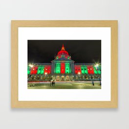 City Hall Holiday Night Light 2 Framed Art Print
