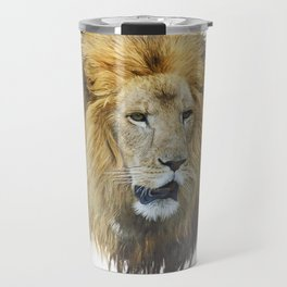 lion head watercolor Travel Mug