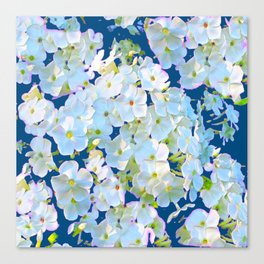 DELICATE TEAL & WHITE LACE FLORAL GARDEN Canvas Print
