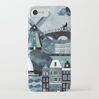 travel poster iPhone & iPod Cases featuring Amsterdam Travel Poster by ClaireIllustrations