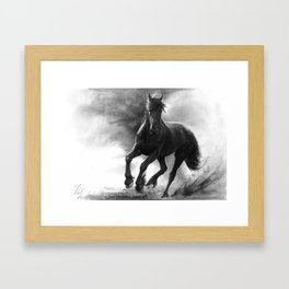 Horse in Storm - GRAPHITE DRAWING Framed Art Print