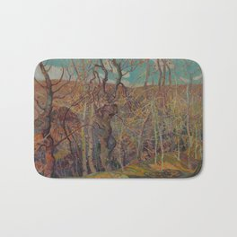 Canadian Landscape Oil Painting Franklin Carmichael Art Nouveau Post-Impressionism Silvery Tangle Bath Mat