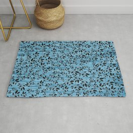 Delicate Black leaves with Blue waterfall background Rug