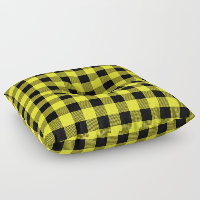 Yellow and Black Plaid Floor Pillow