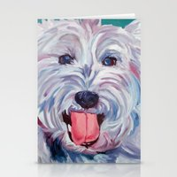 westie Stationery Cards featuring The Westie Kirby Dog Portrait by Barking Dog Creations Studio