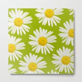 Daisies on a vivid green background - #Society6 #buyart Metal Print