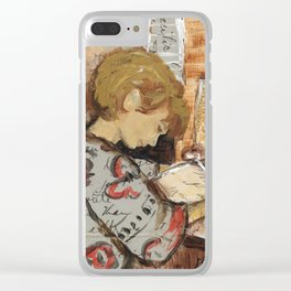 Female Figure Writing Painting Collage Clear iPhone Case