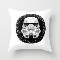 stormtrooper Throw Pillows featuring stormtrooper by Tarik Ali Sert
