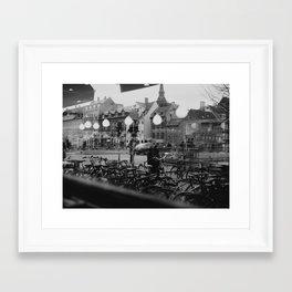 Copenhagen street scene,view from cafe, black and white Framed Art Print