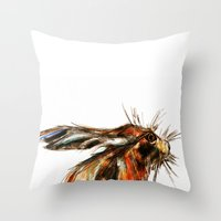 hare Throw Pillows featuring Hare by James Peart