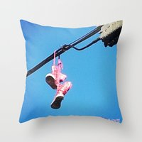 sneakers Throw Pillows featuring DISCO SNEAKERS  by Punkboy Marti