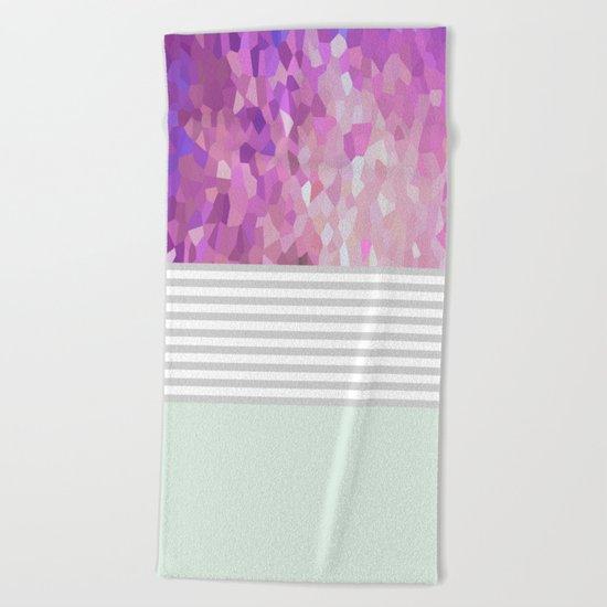 Pink Dreams on grey stripes Beach Towel