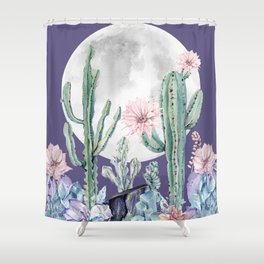 Desert Cactus Full Moon Succulent Garden on Purple Shower Curtain