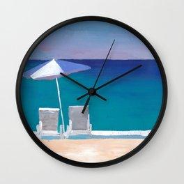 Beach Chair and Parasol on the Beach Wall Clock