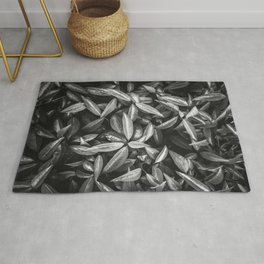 leaves texture background in black and white Rug