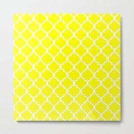 Moroccan Trellis (White & Yellow Pattern) Metal Print