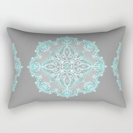 Teal and Aqua Lace Mandala on Grey Rectangular Pillow