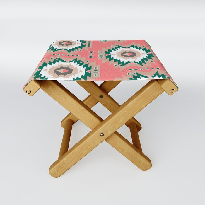 Rustic style in coral Folding Stool