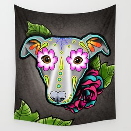 Greyhound - Whippet - Day of the Dead Sugar Skull Dog Wall Tapestry