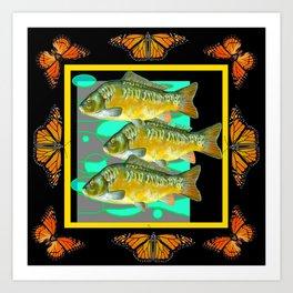 MODERN  MONARCH BUTTERFLIES FISH BLACK  AQUATIC  COLLAGE Art Print