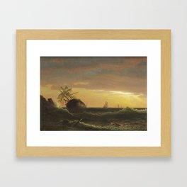 Albert Bierstadt 1830-1902 BEACHED SHIP Framed Art Print
