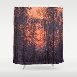 Winter Scene - Frosty Trees Against The Sunset #decor #society6 #homedecor Shower Curtain