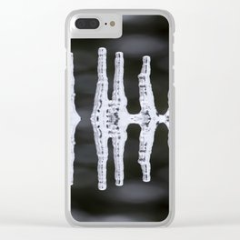 Icicles Reflections On A Bokeh Background Black And White #decor #society6 Clear iPhone Case