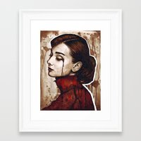 audrey Framed Art Prints featuring Audrey  by Olechka