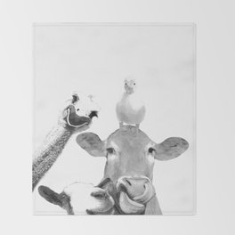 Black and White Farm Animal Friends Throw Blanket