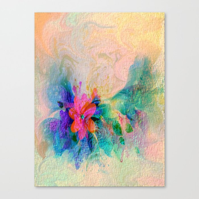 Soft Colorful Pastel Shaded Floral Abstract Canvas Print