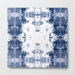 Shibori Tie Dye 5 Indigo Blue Metal Print