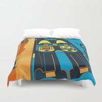 fear and loathing Duvet Covers featuring THIS IS BAT COUNTRY (Fear and loathing in Gotham City) by SimonCARUSO.com