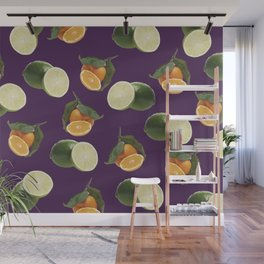 Lime and Clementine Fruits Pattern on Purple Background Wall Mural