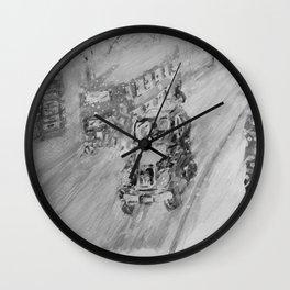 Snowy London Black & White Wall Clock