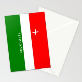 Neuchatel region switzerland country flag name text swiss Stationery Cards