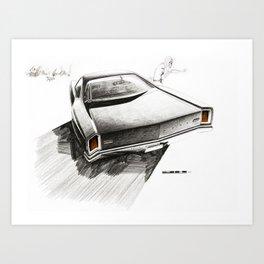 1966 Muscle Car Back End Sketch Art Print