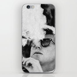 John F Kennedy Cigar and Sunglasses Black And White iPhone Skin