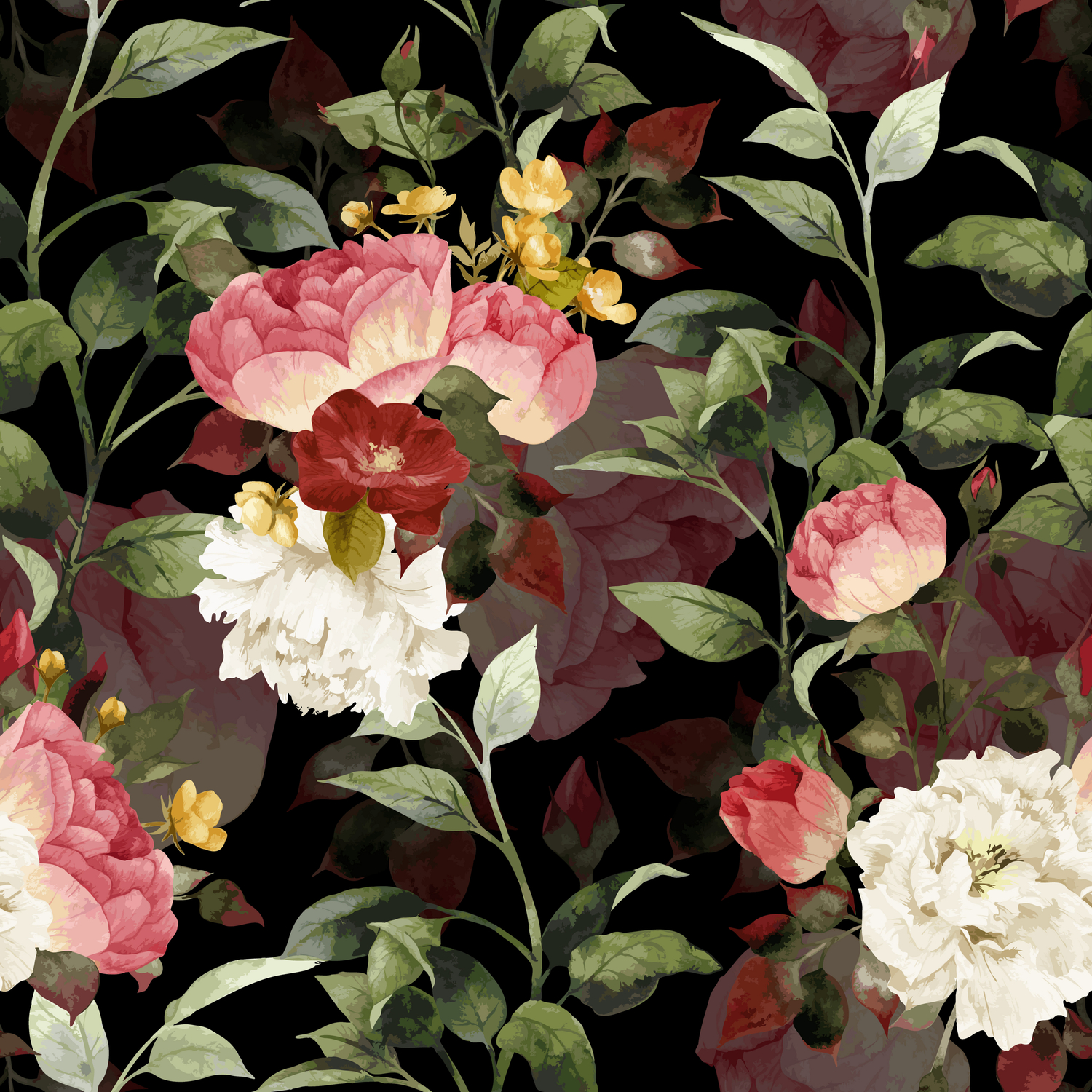 Floral Flower Pattern Watercolor White Pink Flowers Black
