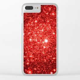 GalaXy : Red Glitter Sparkle Clear iPhone Case