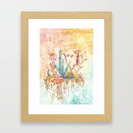 Blue Cactus and Landscape Watercolor Framed Art Print
